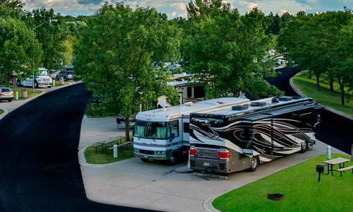 Paved RV sites with electric, water, and sewer hook-ups.
